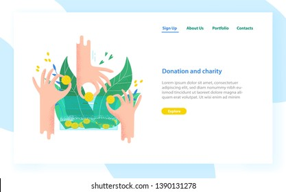 Landing page template with hands holding coins and bills and putting them into money box. Charity project, donation service, fundraising program. Modern colorful vector illustration for advertisement.