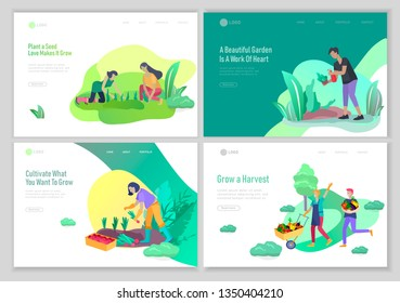 landing page template with happy Harvesting tips and gardening people doing farming job, grow garden, watering, planting, growing and transplant sprouts, lay vegetables. Cartoon character illustration