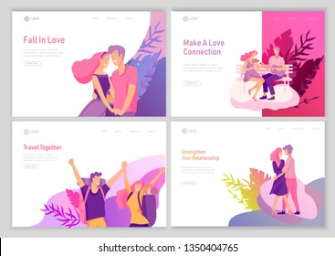 landing page template with Happy Lover Relationship, scenes with romantic couple online dating kissing, hugging, playing guitar, traveling. Characters Valentine day Set. Colorful vector illustration