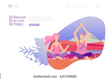 landing page template with Happy Lover Relationship, scenes with romantic couple doing yoga. Characters Valentine day Set. Colorful illustration