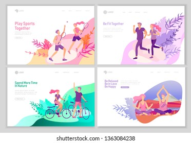 landing page template with Happy Lover Relationship, scenes with romantic couple walking outdoor, playing tennis, doing yoga, running, ride a bike. Characters Valentine day Set. Colorful illustration