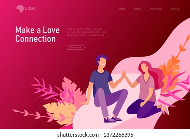 landing page template with Happy Lover Relationship, online dating scenes with romantic couple kissing, hugging, walking. Characters Valentine day Set. Colorful vector illustration
