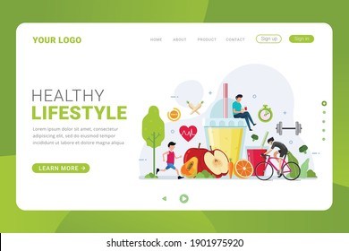 Landing page template healthy lifestyle design concept vector illustration - Shutterstock ID 1901975920
