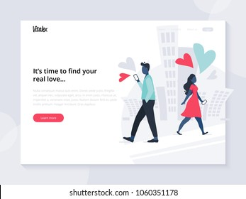 Landing page template. Home page for dating web site with flat lonely people walking in the city. Vector illustration