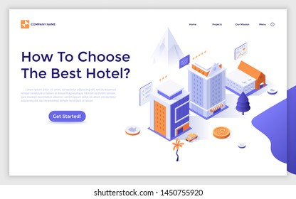 Landing page template with hotel buildings, customers reviews and five star ratings. Internet booking service, search for accommodation online. Isometric vector illustration for website, webpage.
