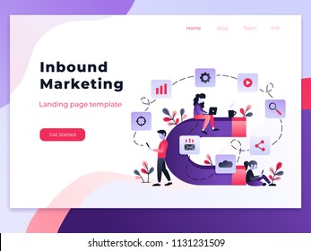 Landing page template of Inbound marketing. Modern flat design concept of web page design for website and mobile website. Easy to edit and customize. Vector illustration
