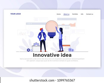 Landing page template of Innovative Idea. Modern flat design concept of web page design for website and mobile website. Easy to edit and customize. Vector illustration