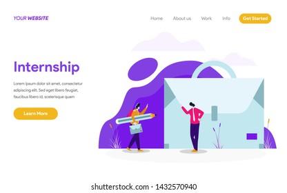 Landing page template of Internship Job Illustration Concept. Modern flat design concept of web page design for website and mobile website.Vector illustration