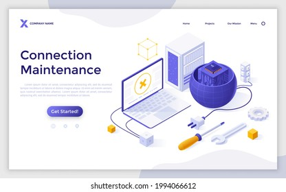 Landing page template with laptop computer with no signal sign, planet with plug and microchip inside. Concept of internet connection maintenance, web network access. Isometric vector illustration.