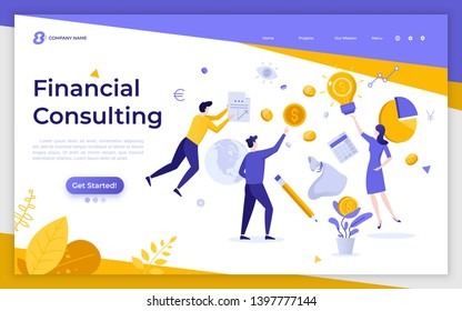 Landing page template with levitating financial managers, coins, diagrams. Money saving, personal finance consulting, investment management. Modern flat vector illustration for service promotion.