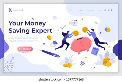 Landing page template with levitating people, coins and piggy bank. Money saving expert, investment consultation service, personal financial consultant. Modern flat vector illustration for website.