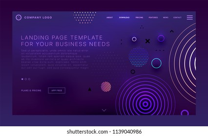 Landing page template with liquid fluid shapes and geometric patterns for business website design. Eps10 vector illustration