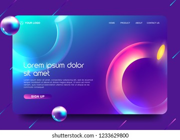 Landing page template with liquid fluid shapes and geometric patterns for business website design