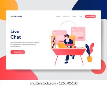 Landing page template of Live Chat Concept. Modern flat design concept of web page design for website and mobile website.Vector illustration