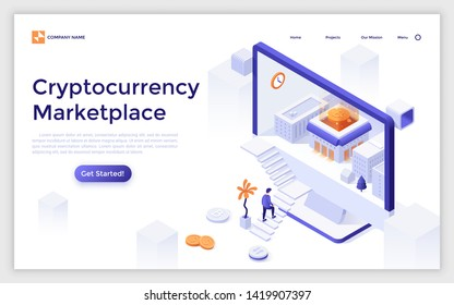 Landing page template with man ascending stairs to enter computer display with buildings and bitcoin inside. Cryptocurrency marketplace. Isometric vector illustration for crypto coin exchange service.