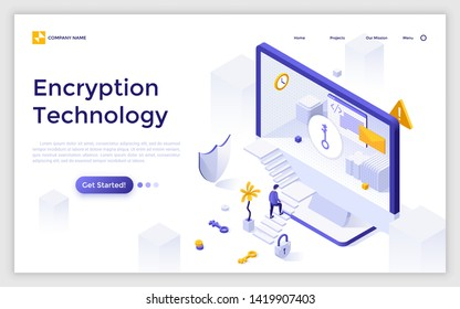 Landing page template with man ascending stairs to enter computer screen. Encryption technology, access to encrypted data. Isometric vector illustration for information security service advertisement.