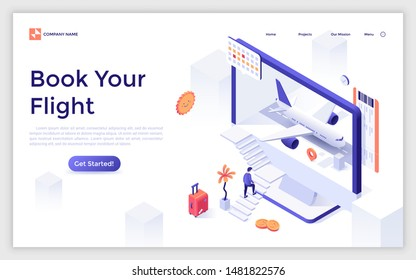 Landing page template with man ascending stairs and trying to enter computer screen with aircraft inside. Modern isometric vector illustration for flight booking service or airfare search website.