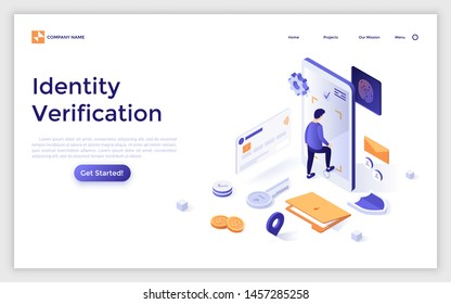 Landing page template with man entering giant smartphone. Secure access to personal information, identity verification or authentication technology. Isometric vector illustration for website, banner.