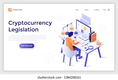 Landing page template with man sitting at desk with computer, scales of justice and books. Cryptocurrency legislation, legal regulation of blockchain technology. Modern isometric vector illustration.