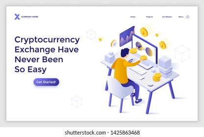 Landing page template with man sitting at computer and buying bitcoin. Online cryptocurrency exchange service, internet crypto coin marketplace. Isometric vector illustration for website, banner.
