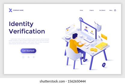 Landing page template with man sitting at computer and trying to login. Concept of identity verification, secure identification, access to personal user information. Isometric vector illustration.