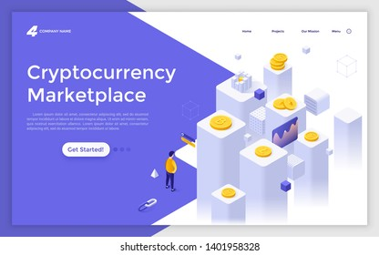 Landing page template with man standing in front of cubic columns and crypto coins. Internet marketplace for online cryptocurrency exchange. Modern isometric vector illustration for website, webpage.