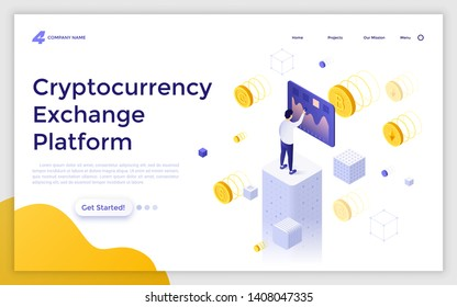 Landing page template with man touching screen and crypto coins around him. Cryptocurrency exchange platform or market. Modern isometric vector illustration for advertising, online service promo.