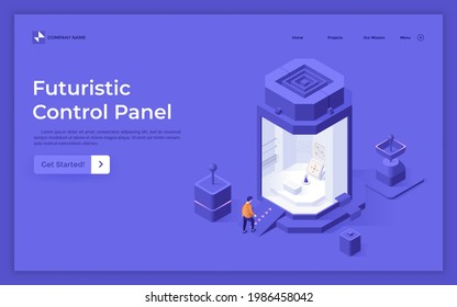 Landing page template with man walking into booth with joystick. Concept of futuristic control panel, digital controller or electronic manipulator. Modern isometric vector illustration for webpage.