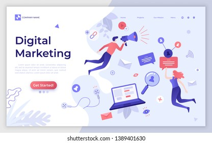 Landing page template with man and woman holding bullhorn. Digital marketing, SMM, website content promotion on Internet and social media. Creative flat vector illustration for service advertisement.