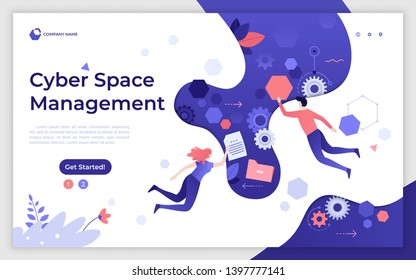 Landing page template with man and woman flying or levitating in cyber space. Cyberspace management, digital environment technology, virtual reality. Modern flat vector illustration for website.