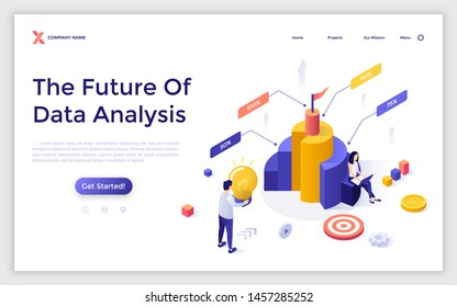 Landing page template with man and woman analysts analyzing comparison diagram. Future of data analysis, financial analytics, market research. Isometric vector illustration for website, webpage.