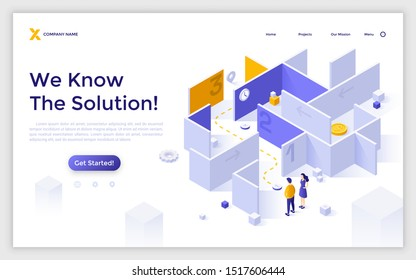 Landing page template with man and woman standing in front of maze or labyrinth and trying to find way out. Concept of overcoming business challenges, problem solving. Isometric vector illustration.