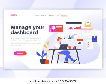 Landing page template of Manage your dashboard. Modern flat design concept of web page design for website and mobile website. Easy to edit and customize. Vector illustration