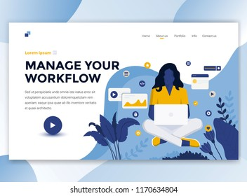 Landing page template of Manage your workflow. Modern flat design concept of web page design for website and mobile website. Easy to edit and customize. Vector illustration