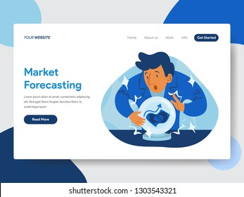 Landing page template of Market Forecast with Crystal Ball Illustration  Concept. Modern flat design concept of web page design for website and mobile website.Vector illustration