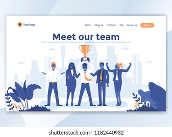 Landing page template of Meet our team. Modern flat design concept of web page design for website and mobile website. Easy to edit and customize. Vector illustration