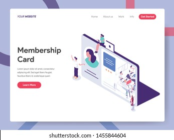 Landing page template of Membership Illustration Concept. Isometric design concept of web page design for website and mobile website.Vector illustration
