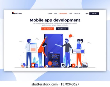 Landing page template of Mobile app development. Modern flat design concept of web page design for website and mobile website. Easy to edit and customize. Vector illustration