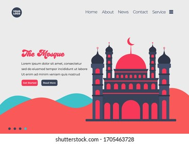 Landing page template of Mosque illustration. Modern flat design concept of web page design for website and mobile website. Easy to edit and customize. Vector illustration. Flat design style