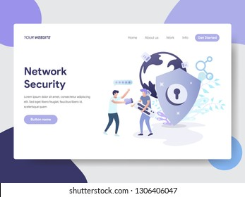 Landing page template of Network Security Illustration Concept. Modern flat design concept of web page design for website and mobile website.Vector illustration