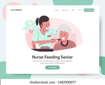 Landing page template of Nurse or Caregiver Feeding Senior Illustration Concept. Modern design concept of web page design for website and mobile website.Vector illustration EPS 10