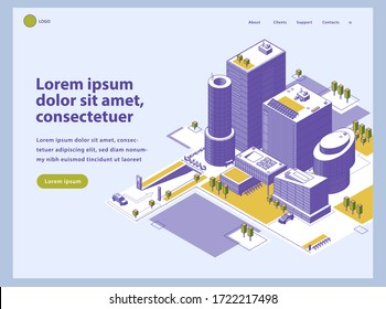 Landing page template with office center. Group of modern architecture buildings at isometric style. Business downtown with outside territory. Smart city concept.