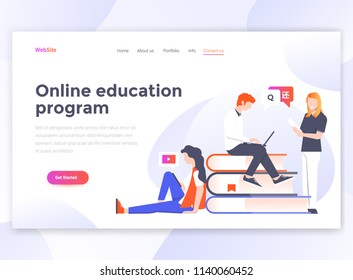 Landing page template of Online education program. Modern flat design concept of web page design for website and mobile website. Easy to edit and customize. Vector illustration