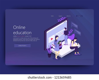 Landing page template of online education. Modern flat design concept of web page design for website and mobile website. Easy to edit and customize. Vector illustration