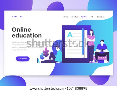 landing page template online education modern のベクター画像素材