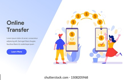 Landing page template of Online Money Transfer with Mobile Phone Illustration Concept. Modern design concept of web page design for website and mobile website.Vector illustration EPS 10