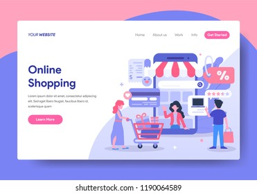 Landing page template of Online Shopping Concept. Modern flat design concept of web page design for website and mobile website.Vector illustration
