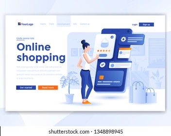 Landing page template of Online Shopping. Modern flat design concept of web page design for website and mobile website. Easy to edit and customize. Vector illustration