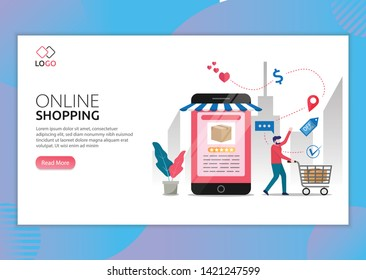 Landing page template of Online Shopping. Modern flat design concept of web page design for website and mobile website. man doing shops via phone. Easy to edit and customize. Vector illustration