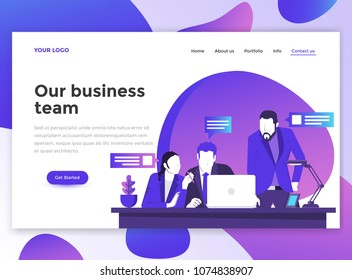 Landing page template of Our business team. Modern flat design concept of web page design for website and mobile website. Easy to edit and customize. Vector illustration